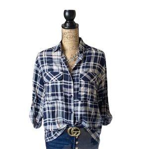 Lush navy/white plaid boyfriend button down shirt